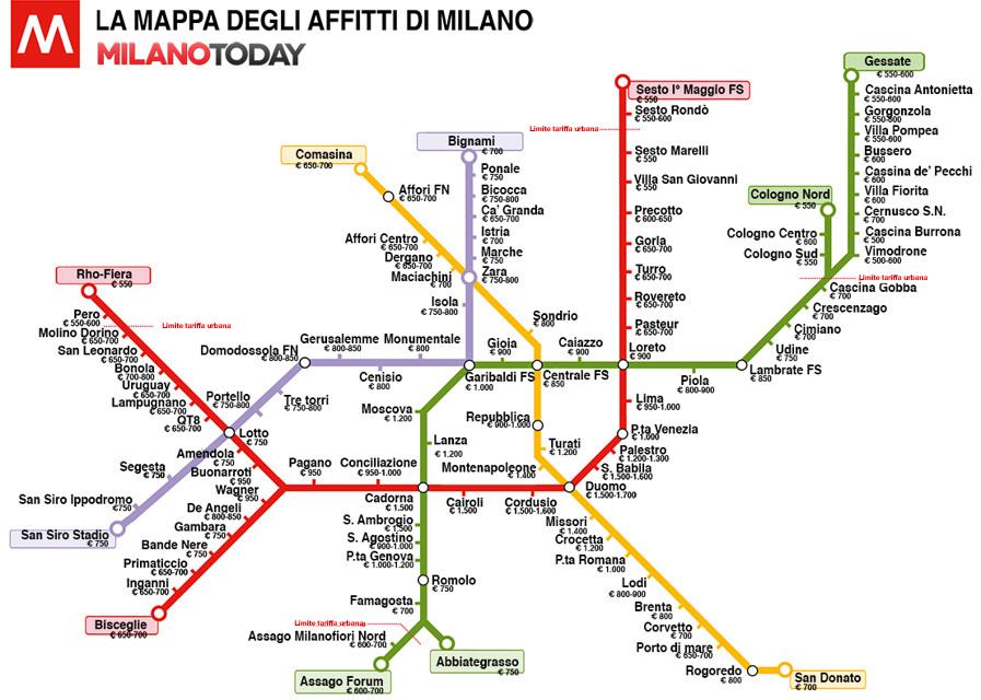 Milano mappa metropolitana case affitto milano quanto - Milano porta garibaldi passante mappa ...